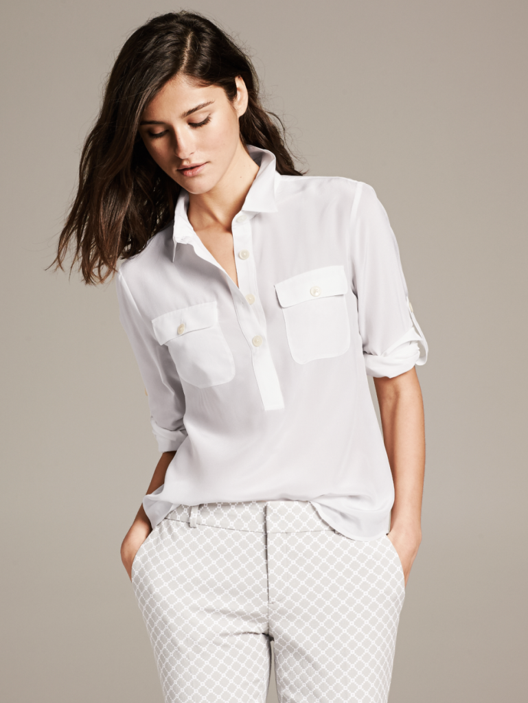 White Silk Utility Blouse_AED 325